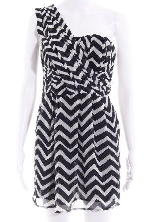 H&M One-Shoulder-Kleid schwarz-weiß Zackenmuster Casual-Look