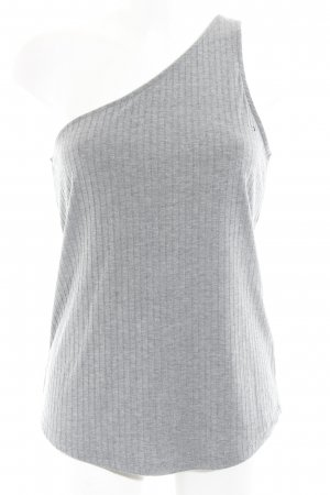 H&M One-Shoulder-Top hellgrau Streifenmuster 90ies-Stil