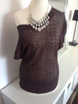 H&M one Shoulder Top Strick in braun XS