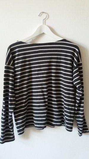 H&M Gestreept shirt wit-donkergrijs Katoen