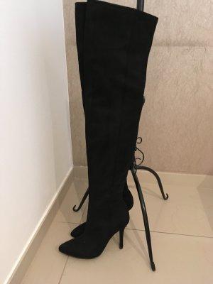 H&M Overknee Stiefel schwarz