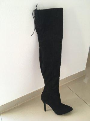 H&M Overknee Stiefel Velourslederoptik
