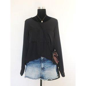 H&M oversize Chiffon-Look Bluse schwarz 42 44 langarm Fischerhemd