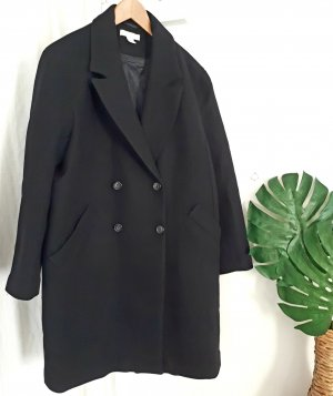 H&M Premium Oversized Coat black mixture fibre