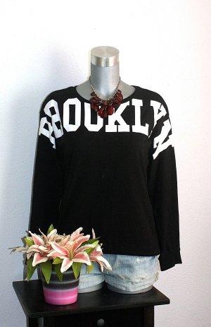 H&M Oversize Print Pullover gr. 42/44 Schwarz/Weiß