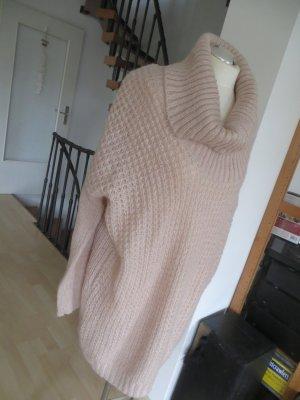 H&M Oversize Pullover Longpullover Grobstrick nude Rollkragen M/L wie neu