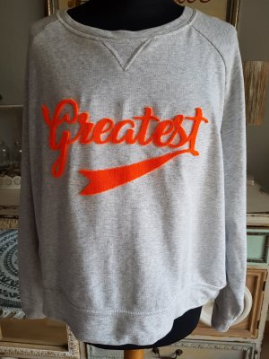 H&M Sweat light grey-neon orange