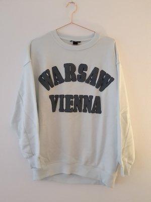 h&m oversize Sweatshirt S/M Mintgrün/bestickt Pullover Warsaw/Vienna