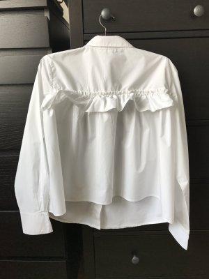 H&M Oversized Bluse 36 weiß mit rüschen langärmlig