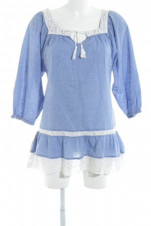 H&M Oversized Bluse himmelblau-wollweiß Boho-Look