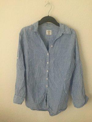 H&M oversized Hemd Blau gestreift aus Leinen