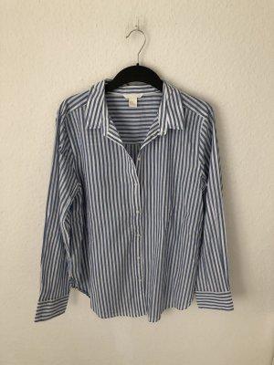 H&M Oversized Blouse white-blue