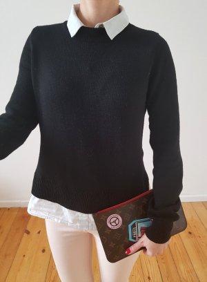 H&M oversized Hemd Pullover 34 36 XS S schwarz knit Pulli Oberteil Bluse Longpulli Longpullover Top