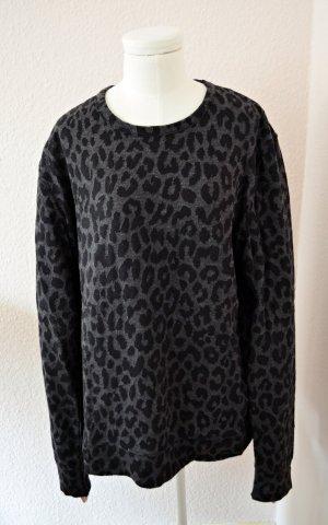 H&M Oversized Leo Pullover schwarz grau