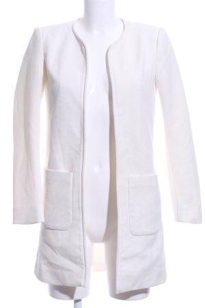 H&M Oversized Mantel weiß Webmuster Elegant