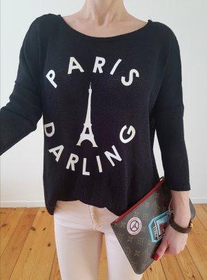 H&M oversized Pullover 34 36 XS S M schwarz knit Longpulli Oberteil Bluse Tunika Strick Shirt Top