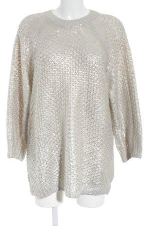 H&M Oversized Pullover creme-silberfarben Zopfmuster Metallic-Optik