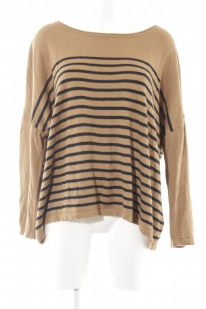 H&M Oversized Sweater light brown-black horizontal stripes casual look