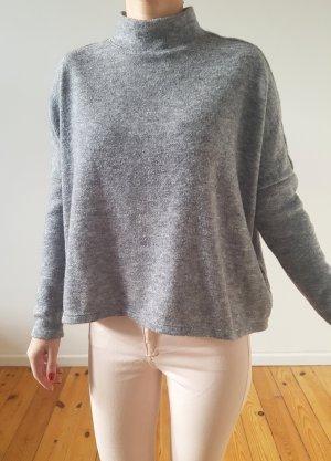 H&M oversized Rollkragen Pullover 34 36 XS S grau knit cropped Pulli Oberteil Bluse Longpulli Neu