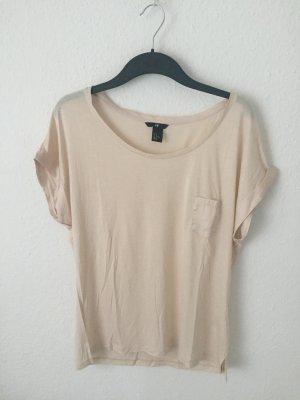 H&M oversized Shirt mit Satin Details Nude