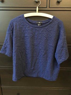 H&M Oversized t-Shirt cropped 38 M blau mit Muster
