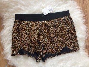 H&M Pailetten Shorts 36 S neu gold schwarz