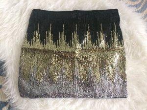 H&M Pailleten Rock 36 S neu schwarz gold silber