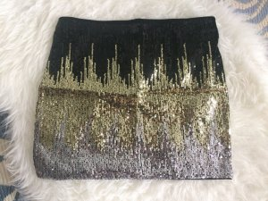 H&M Pailleten Rock 36 S neu schwarz gold silber festlich Neujahr Weihnachten
