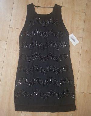 H&M Pailletten Kleid Abendkleid Cocktailkleid Party Gala Weihnachten Silvester Glitzer Schwarz XS 34