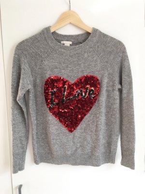 H&M Pailletten Love Pullover Grau Größe 34