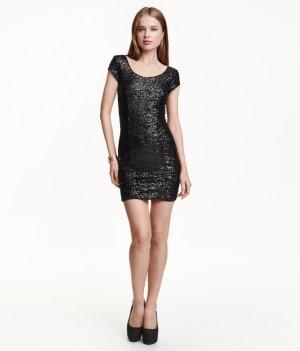H&M Pailletten Mini Kleid Schwarz Gr. 36 NEU und ungetragen