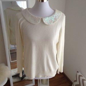 H&M Pailletten Pullover Creme L Bubikragen Perlen Alpaca Weiß Peter Pan Kragen