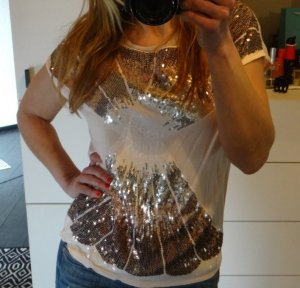 h&m Pailletten Shirt Top Bluse nude rosa apricot lachs weiss metallic oversized blogger