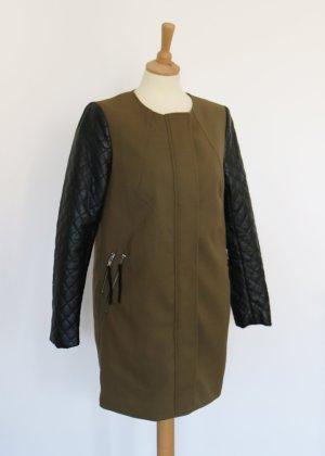 H&M Parka Mantel in Khaki Olive mit Lederärmeln 38