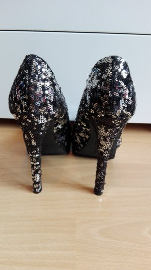 H&M Party High Heels in 38 Pailletten Weihnachten Silvester Pumps silber