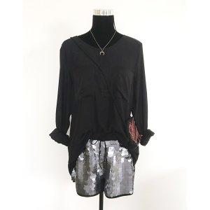 H&M Party Pailletten Shorts silber grau schwarz 38 kurze Hose