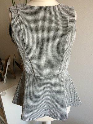 H&M Peplum Bluse Top 36 S neu schwarz weiß Schößchen