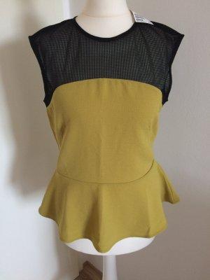 H&M Peplum Top 38 M neu senfgelb Herbst Bluse T-shirt
