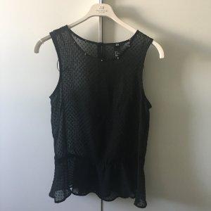 H&M Peplum Top Schößchen schwarz transparent 34