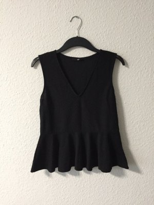 H&M Peplumshirt 36 schwarz