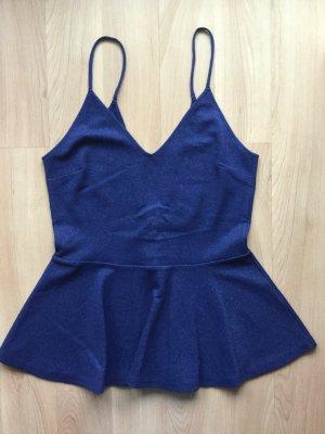 H&M Peplumtop in dunkelblau mit Glitzer und Rückenausschnitt