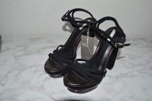 H&M Sandalo con tacco alto nero-marrone-viola