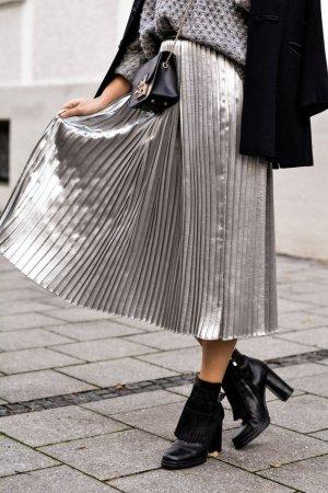 H&M Jupe à plis argenté polyester