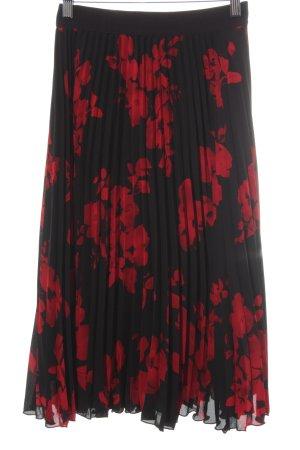 H&M Pleated Skirt black-brick red flower pattern