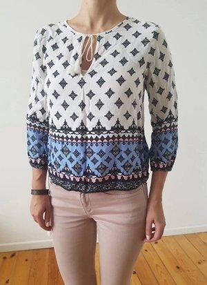 H&M Pompom Bluse XS S 32 34 36 weiß bunt Peplum Pompom Spitze Shirt Hemd Top Tunika Longshirt Oberteil Kleid Festival NP 25€