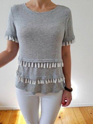 H&M Pompom Bluse XS S 32 34 36 weiß Peplum Shirt Top Longshirt Oberteil Tunika