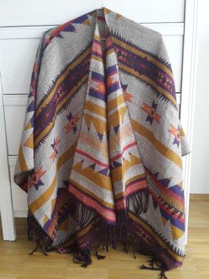 h&m Ponch Cape Mantel Azteken Ethno Muster onesize Schal