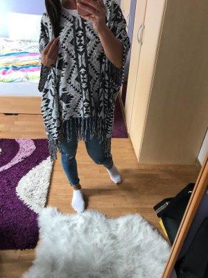 H&M Knitted Poncho black-grey