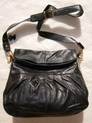 H&M Premium 100% Echtleder Tasche Black Gold Neu