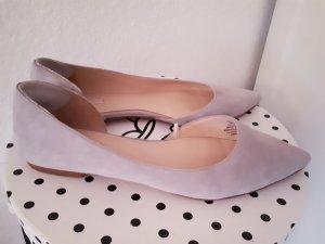 H&M Premium Ballerinas Velourleder Hellgrau Gr. 39